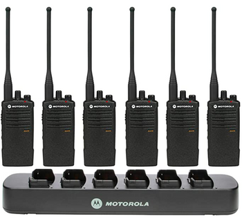 Motorola RDU4100 Business Two-Way Radios with Bank Charger