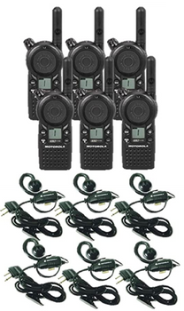 Motorola CLS1110 UHF Two Way Radio 6-Pack with Headsets