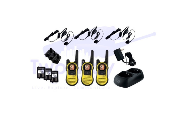 3 Pack Motorola MH230TPR Two Way Radios with Dual Charger, Headsets and Rechargeable Batteries