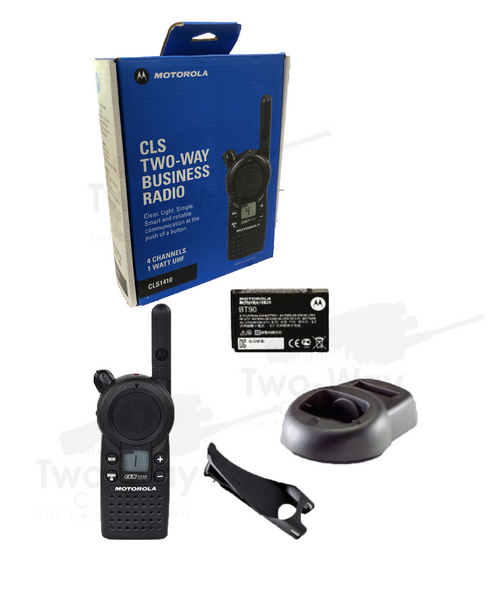 Motorola CLS1410 Two Way Radio, Charger, Holster, Battery