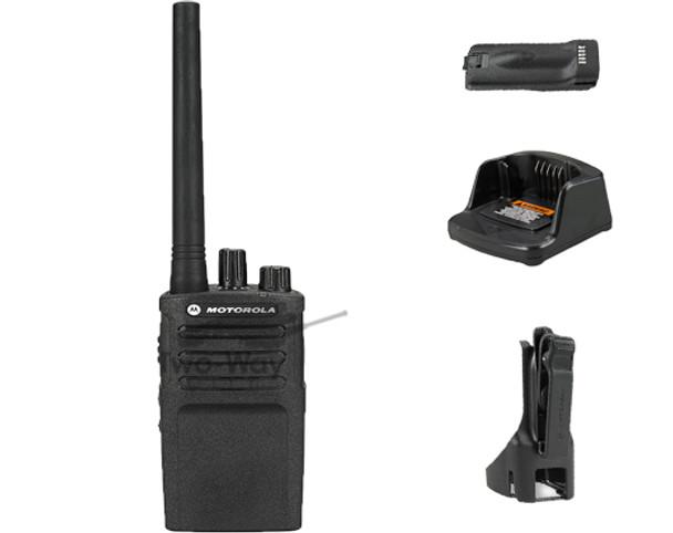 Motorola RMV2080 VHF Two Way Radio, Charger, Battery, and Holster