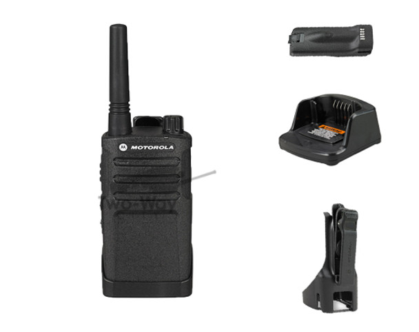 Motorola RMU2040 UHF Two Way Radio, Charger, Belt Clip, and Battery