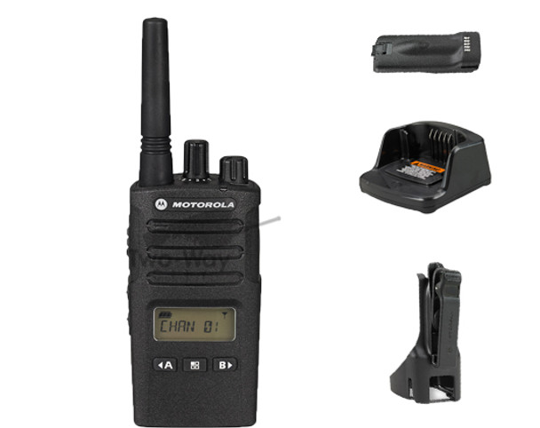 Motorola RMU2080d UHF Two Way Radio, Battery, Charger, and Belt Clip