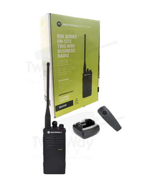 Motorola RDU4100 UHF Two Way Radio, Belt Clip, Charger, and Battery