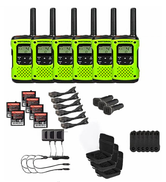 Motorola T605 Two-Way Radio 6-Pack with Accessories