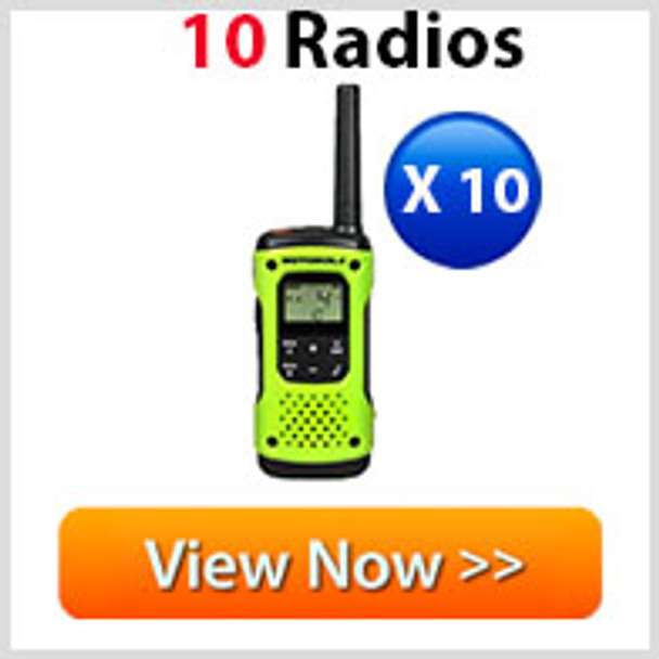 Motorola T605 Two-Way Radio 10-Pack with Accessories