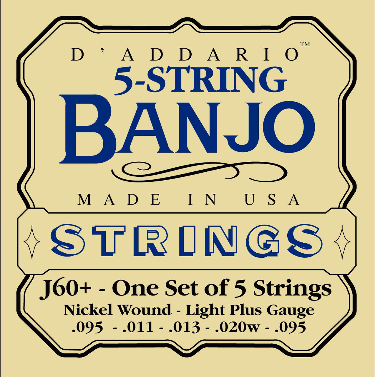 D'addario J60+ Nickel Wound Banjo Strings