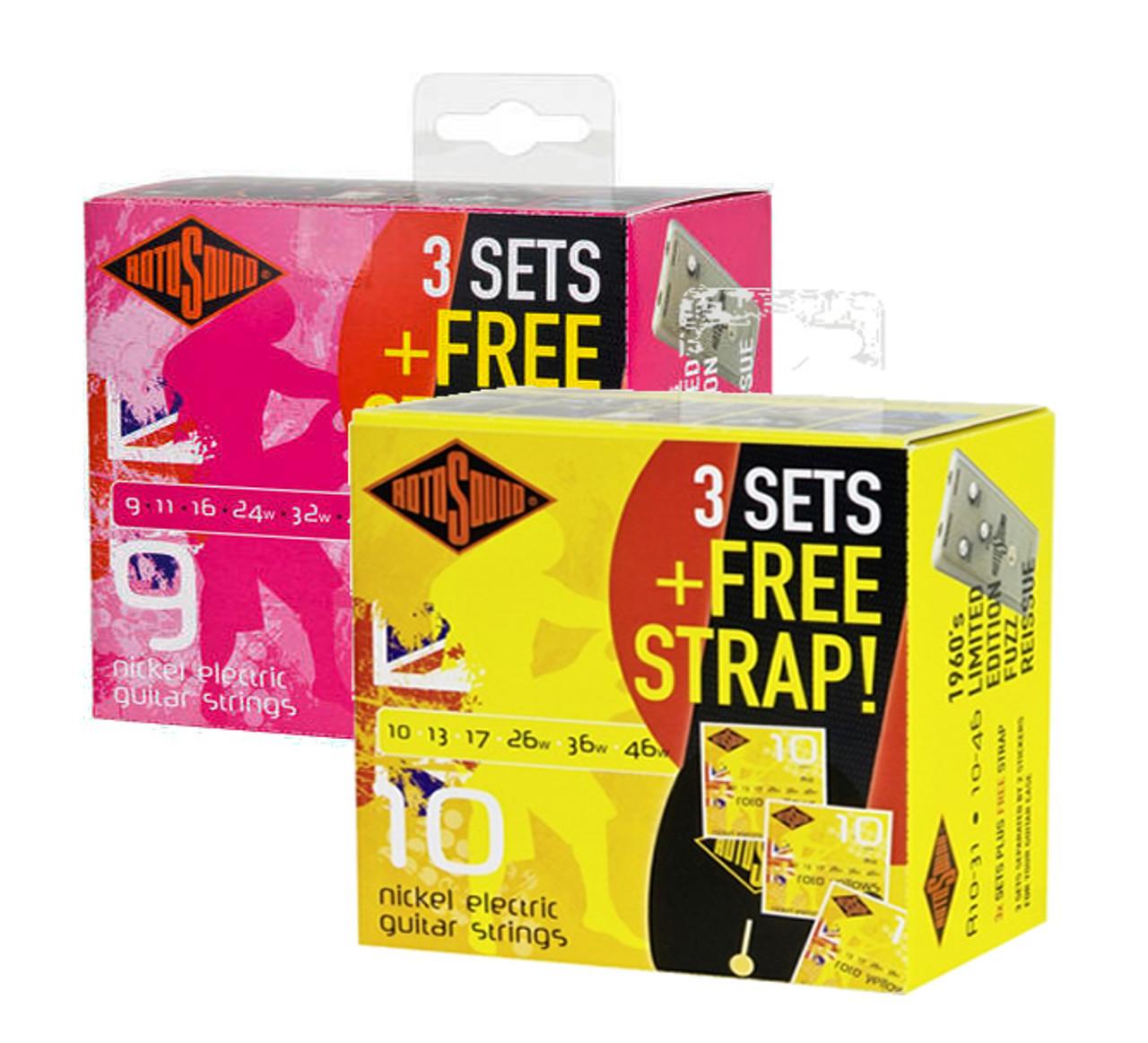 Rotosound Electrics 3 Pack Free Strap