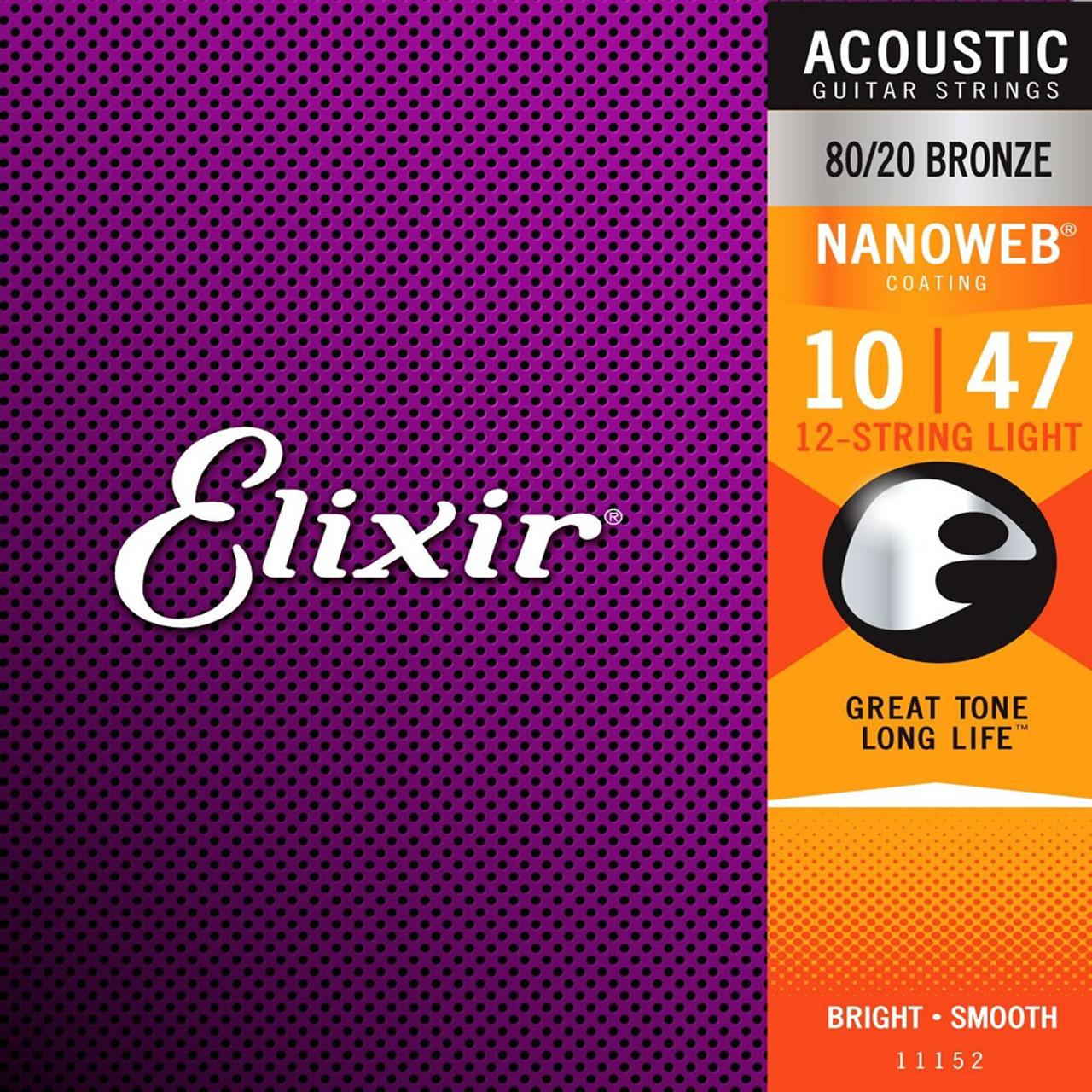 Elixir 11152 80/20 Nanoweb 12 String Guitar Set 10-47 ireland