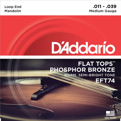 D'addario EFT74 Flat Tops Mandolin Strings (11-39)