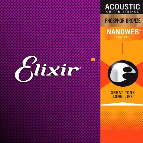 Elixir Nanoweb Phosphor Bronze Acoustic Guitar Strings Ireland