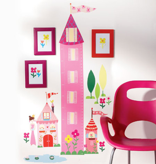 Princess Growth Chart Girls Wall Stickers