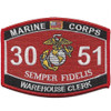 3051 Warehouse Clerk USMC MOS Patch