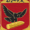 472nd Airborne Field Artillery Battalion Patch Hell From Above   Center Detail