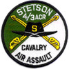 4th Battalion 3rd Aviation Cavalry Regiment S Troop Patch - Green and White