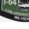1st Battalion 64th Armored Regiment Military Occupational Specialty MOS Patch | Lower Left Quadrant