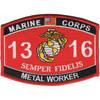 1316 Metal Worker MOS Patch