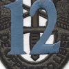 12th Special Forces Group Crest OD Green Blue 12 Patch | Center Detail