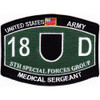 5th Special Forces Group 18D MOS Patch