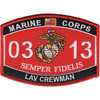 0313 Light Armored Vehicle (LAV) Crewman MOS Patch