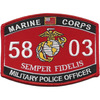 5803 MOS Military Police Officer Patch