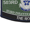503rd Airborne Infantry Regiment Military Occupational Specialty MOS Rating Patch | Lower Left Quadrant
