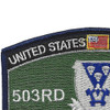 503rd Airborne Infantry Regiment Military Occupational Specialty MOS Rating Patch | Upper Left Quadrant