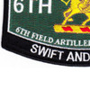 6th Field Artillery Regiment Military Occupational Specity Military MOS Rating Patch | Lower Left Quadrant