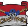 Cavalry Guide On Flag With Skull and Crossed Sabers Patch | Center Detail