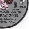 CVN-70 Carl Vinson Cvw-9 Patch Westpac 2003 | Lower Right Quadrant