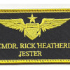 Aviation Pilot Black Wings Yellow Jester Patch Hook And Loop | Center Detail