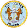 USS Coates DE-685 Destroyer Escort Ship Patch