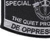 Special Forces Military Occupational Specialty MOS Patch De Oppresso Liber | Lower Left Quadrant