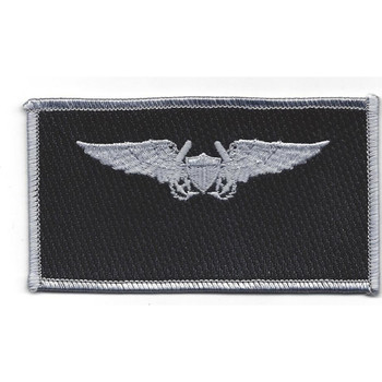 Naval Flight Officer Name Tag Patch- Silver and Black