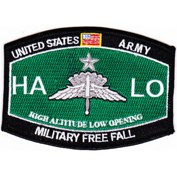 High Altitude Low Opening Parachutist MOS Patch Master HALO