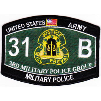 3rd Military Police Group Military Occupational Specialty MOS Rating Patch 31 B Military Police