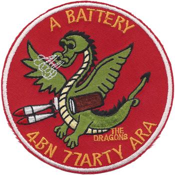 4th Battalion 77th Artillery A Battery Aerial Rocket Artillery Patch