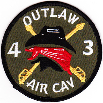 4th Battalion 3rd Aviation Cavalry Regiment Patch Outlaw OD