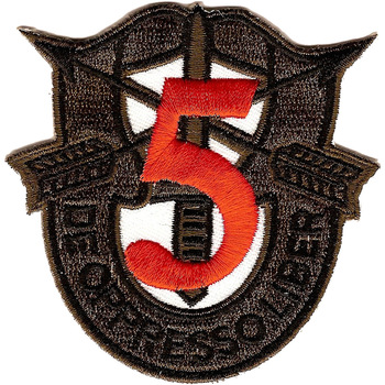 5th Special Forces Group Crest OD Green Red 5 Patch