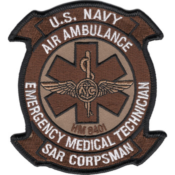 SAR Search And Rescue Corpsman EMT Air Ambulance Patch Desert
