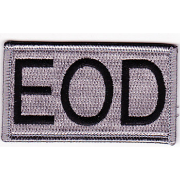 Explosive Ordnance Disposal Tab EOD Silver Patch Hook And Loop