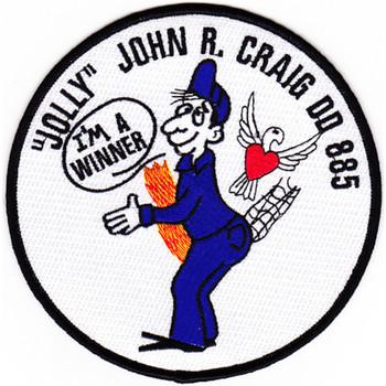 """DD-885 USS John R Craig Patch """"Jolly"""" I'M A Winner"""