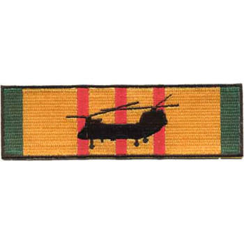 CH-46 Sea Knight Silhouette On Vietnam Service Ribbon Patch