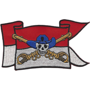 Cavalry Guide On Flag With Skull and Crossed Sabers Patch