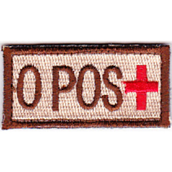 Blood Type O Positive Desert Patch Hook And Loop