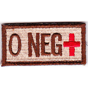 Blood Type O Negative Desert Patch Hook And Loop