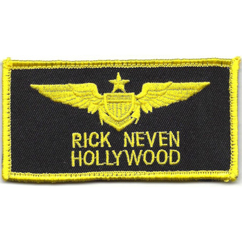 Aviation Pilot Yellow Wings Black Hollywood Patch Hook And Loop