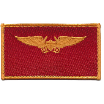 Aviation Pilot Weapon Officer Gold Wings Red Field Patch