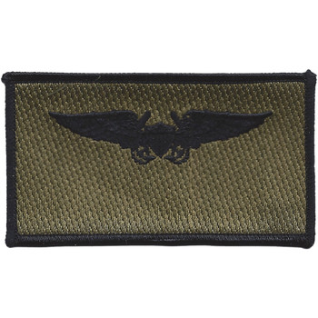 Aviation Pilot Weapon Officer Black Wings OD Patch