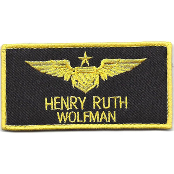 Aviation Pilot Black Wings Yellow Wolfman Patch Hook And Loop